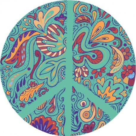 Sticker Peace and Love Bleu