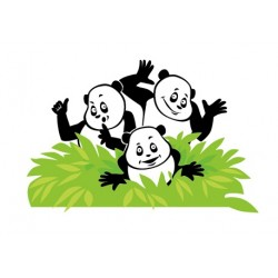 Sticker 3 Pandas Buisson