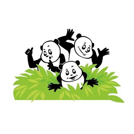 Sticker 3 Pandas Buisson