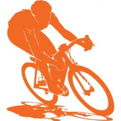 Sticker Cycliste orange
