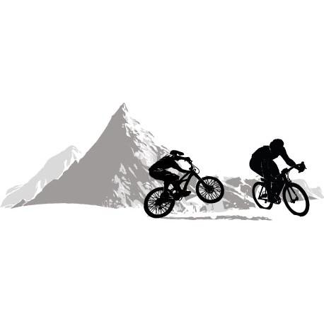 Sticker VTT cycliste Montagne