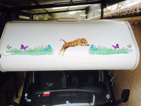 sticker tigre et papillon